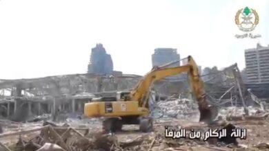 صورة إزالة الردميات وفتح كل الطرق داخل مرفأ بيروت