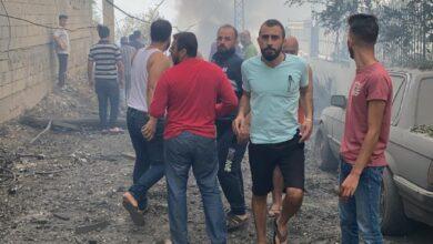 صورة انفجار في أحد المباني في بلدة عين قانا الجنوبية