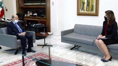صورة عون بحث مفاوضات ترسيم الحدود مع شيا