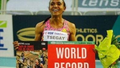 صورة الإثيوبية تسيغاي تحطم رقم مواطنتها القياسي في سباق 1500 م