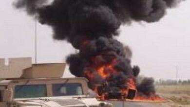 صورة إنفجار عبوة ناسفة برتل تابع للتحالف الدولي في محافظة الديوانية بالجنوب