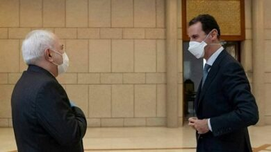 """صورة ظريف والأسد يؤكدان """"دعم نضال الشعب الفلسطيني"""""""