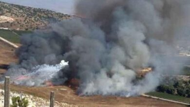 صورة إطلاق صواريخ من جنوب لبنان باتجاه مستوطنة كريات شمونة