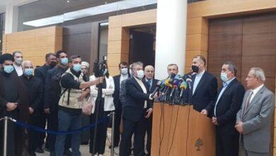 صورة عبداللهيان يؤكد من بيروت وقوف ايران الى جانب لبنان لكسر الحصار