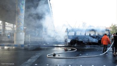 صورة شهداء وجرحى بتفجير إرهابي إستهدف حافلة عسكرية بدمشق