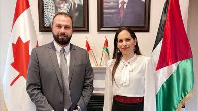 صورة سفيرة فلسطين في كندا تستقبل الدكتور محمد علي مشلي..